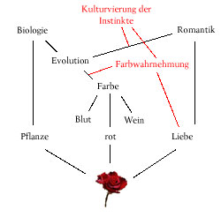<b>Dies könnte die Assoziationskette eines Genialen sein. Der Output beim Anblick der Rose könnte entsprechend eine der rot gefärbten Assoziationen sein.</b>